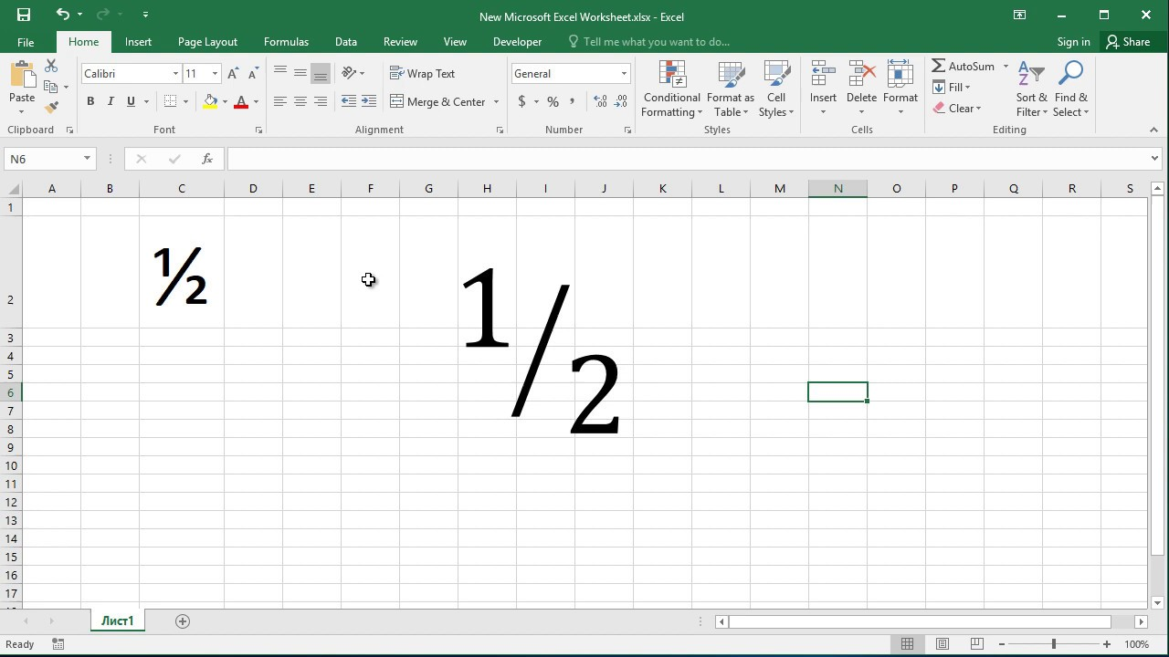 How to type fraction one half ½ in Excel