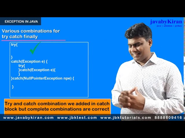 Exception in java -  Try Catch Finally - Java By kiran Revision Session