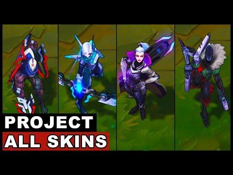 All PROJECT Skins Spotlight Jhin Vayne Vi Zed Ashe Lucian Yasuo Katarina Ekko Yi Fiora Leona
