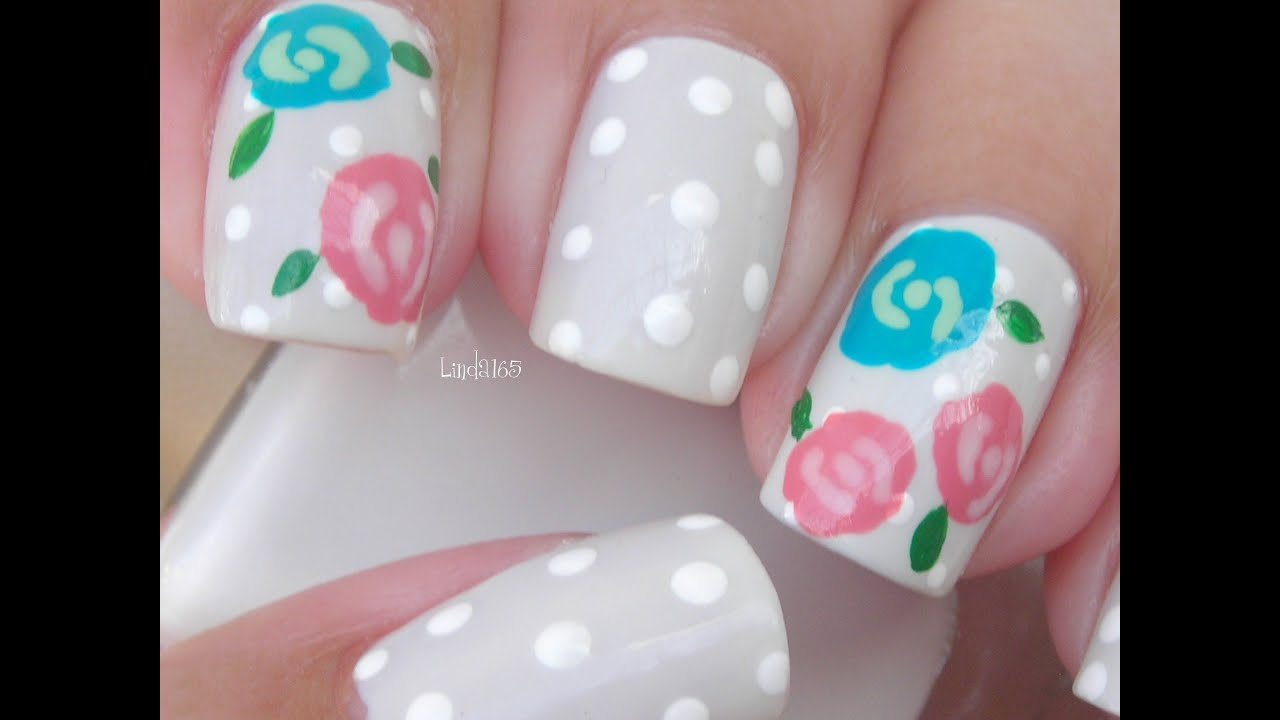 Nail art winter rose decoracion de u as rosa de - Decoracion de unas ...