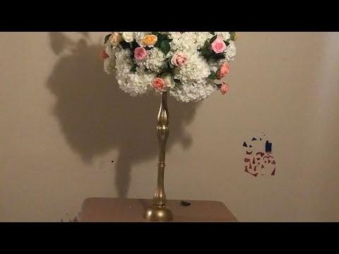 DIY- Multiple Size Floral Arrangement DIY- Dollar Tree Tall Wedding Decor DIY- Tall Candleholder