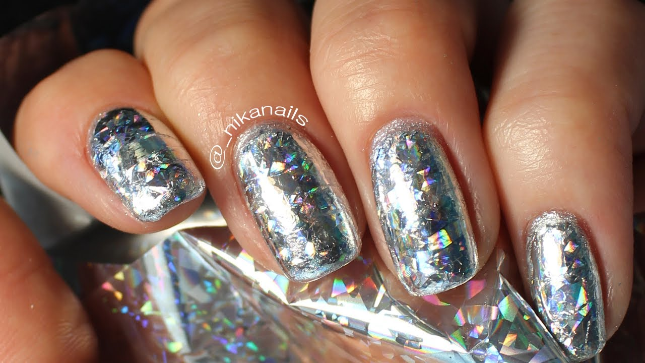 DIY Diamond Nails | Holographic Nail Art Design Tuturial - YouTube
