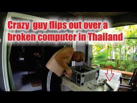 Crazy guy flips out over a broken computer in Thailand - Sunny's Thailand Vlog #72