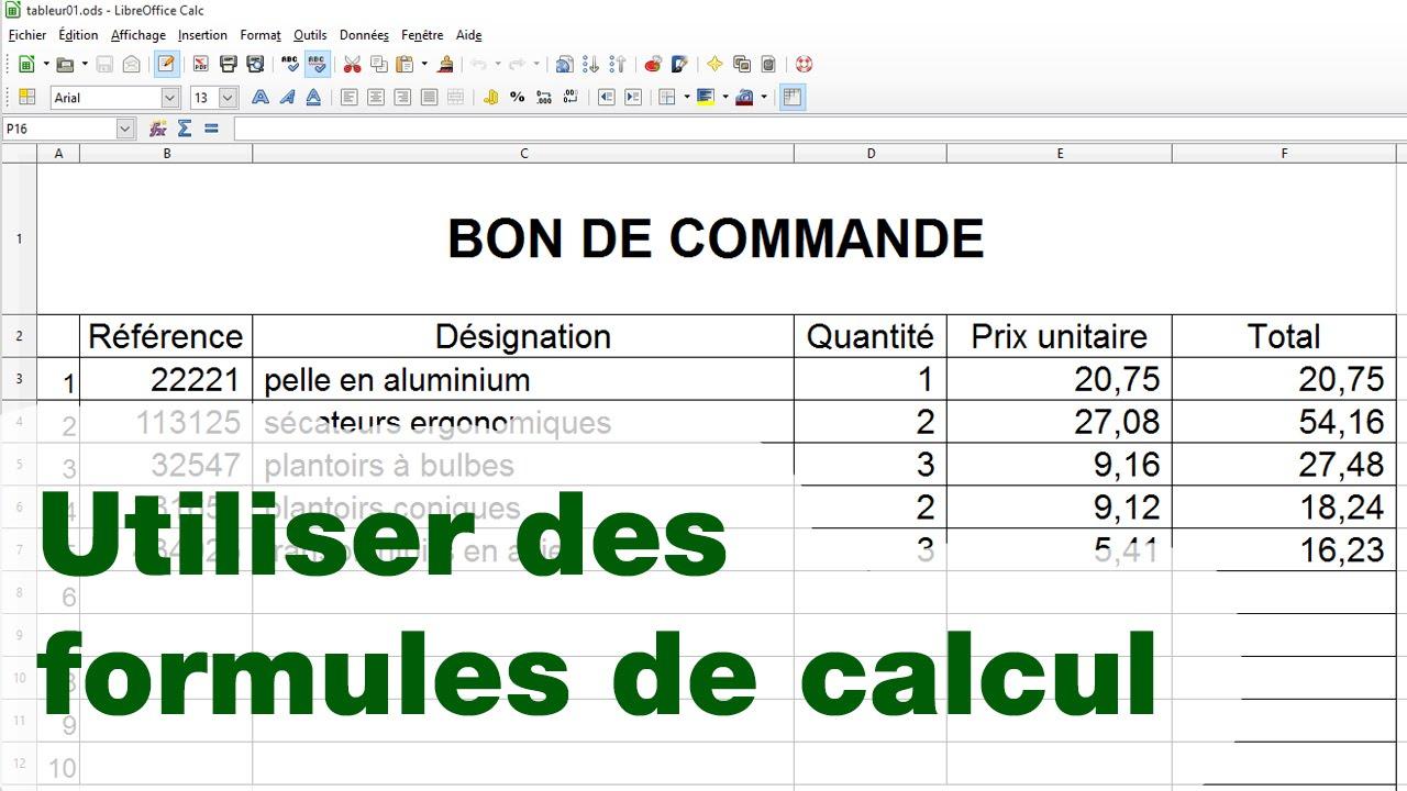 Tableur Bon de Commande - ép.02 : les formules - YouTube