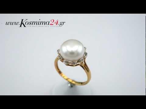 Δαχτυλίδι χρυσό 18 καράτια με μαργαριτάρι και μπριγιάν