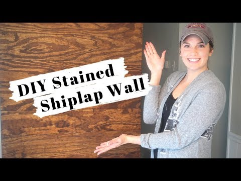 DIY Stained Shiplap Accent Wall: Stained Shiplap