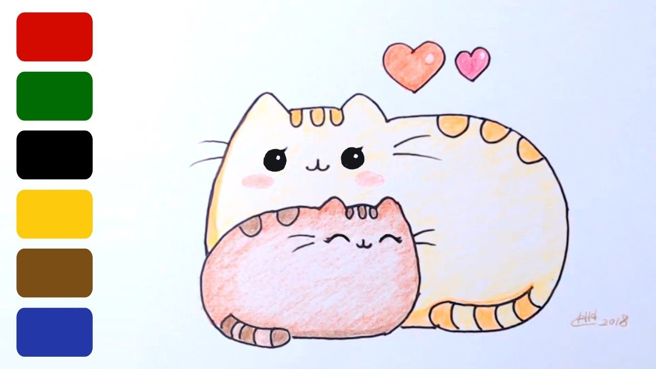 Happy Mothers Day Draw Pusheen Cat With Mom