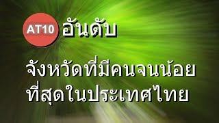 10 อันดับ จังหวัดที่มีจำนวนคนจน น้อยที่สุดในประเทศไทย