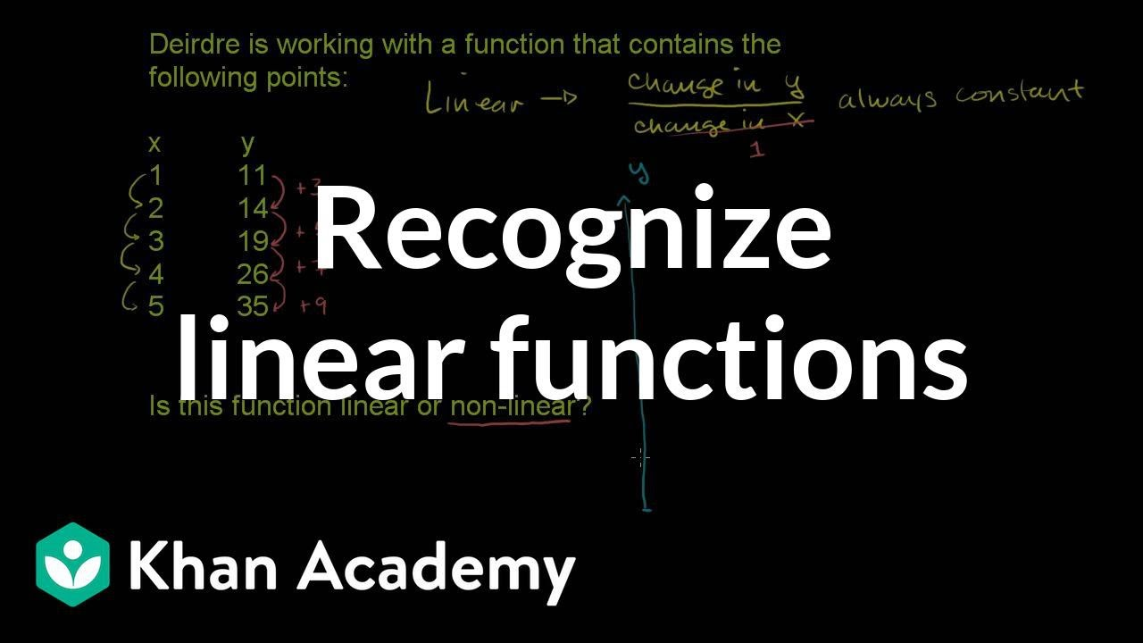 Recognizing linear functions (video) | Khan Academy