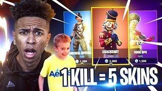 1 KILL 5 SKINS GRATUIT POUR RANDOM 9 ANS OLD KID! Fortnite Bataille Royale