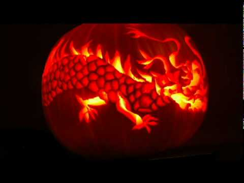 Pumpkin Carving of Dragon - YouTube