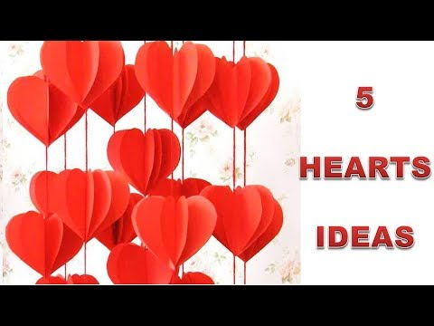 5 Wall Decoration Ideas. Heart Design Valentine's Day Room Decor Ideas. Paper Flower Wall Hanging