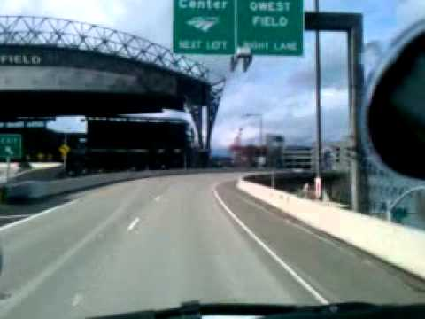 Driving by the Seattle Seahawk Stadium and Qwest Field