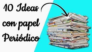 10 Ideas para reciclar papel periódico || Manualidades Recicladas || Ecobrisa