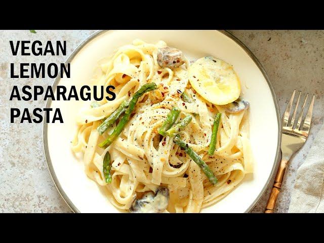 VEGAN LEMON ASPARAGUS PASTA – 30 MINS | Vegan Richa Recipes