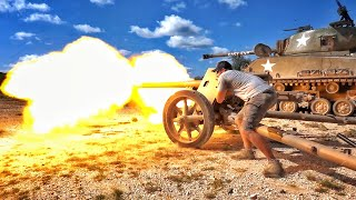 German Pak-40 vs Running Truck Engine!!! ft. WhistlinDiesel