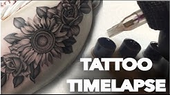 TATTOO TIME LAPSE / REAL TIME /FLOWERS ON THIGH ROSES AND SUNFLOWERS /CHRISSY LEE TV