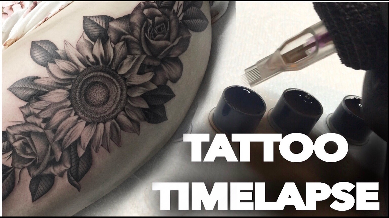 Tattoo Time Lapse Real Time Flowers On Thigh Roses And Sunflowers