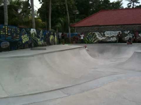 Thomas Kring skating Globe Bali skatepark