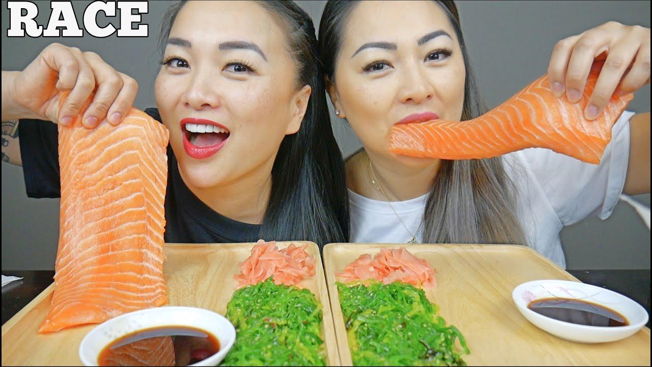 Raw Salmon Sashimi Race Challenge Sister Reunited Edition Lets Eat Sasvlogs Youtube Spicy noodle challenge sister race | sasvlogs. raw salmon sashimi race challenge sister reunited edition lets eat sasvlogs