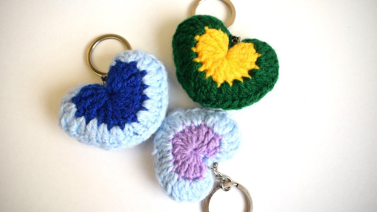 Tutorial How To Crochet A Miniature Heart Keychain Youtube