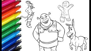 Coloring Pages SHREK and friends How to paint with Watercolor Markers - Color Toys for Kids