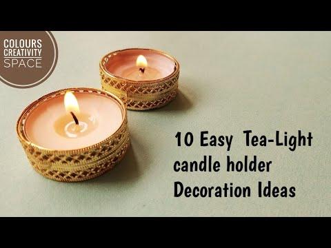 DIY 10 Tea-Light candle holder Decoration ideas /Diwali Decoration Ideas/Diwali craft