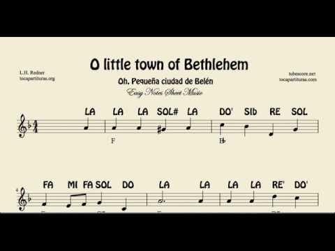 O Little town of Bethlehem Partitura con Notas fácil para Flauta Violín y Oboe Villancico