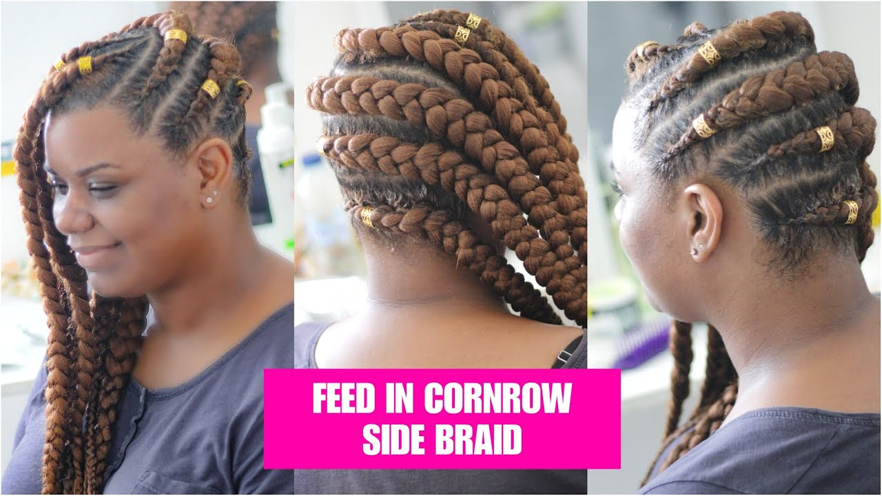 Tuto Feed In Cornrow Side Braid Milies Hairstyle Natural Hair Crepus 4a 4b 4c