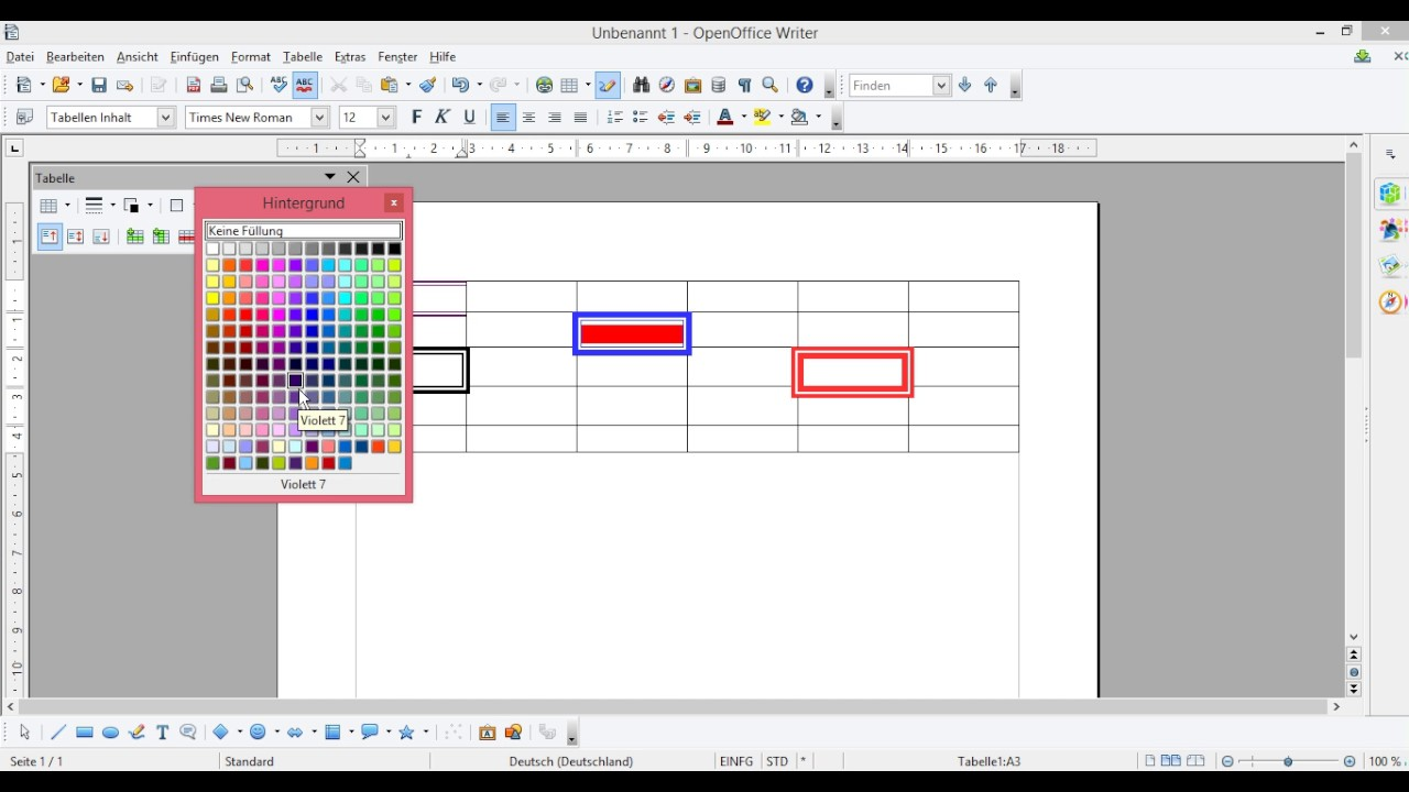 Openoffice Tabelle Erstellen Tabelle Einfügen Tabelle Rahmen Farbe