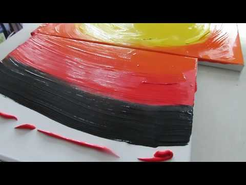 Art  Abstract painting with acrylics video ( Sunrise)