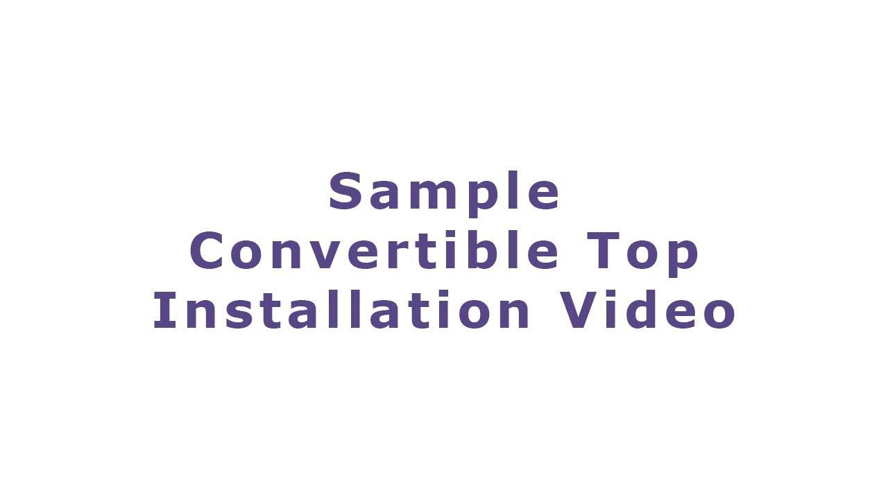 1996 2007 Sebring Convertible Top Installation Video
