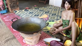 Beautiful Girl Fry Bread - How To Fry Bread In My Village - Khmer Traditional Food