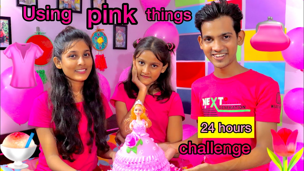 Using only Pink things for 24 hours    funniest challenge    pink food for 24 hours
