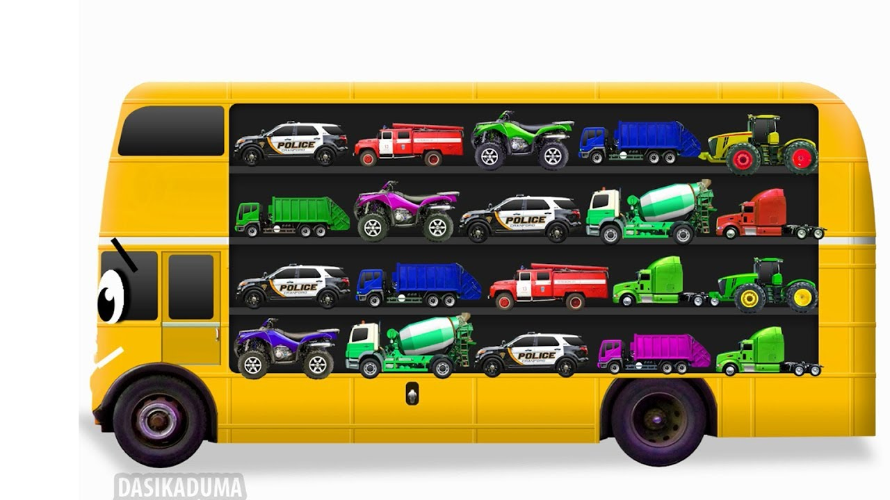 Learn Street Vehicles For Kids With School Bus. Cars And