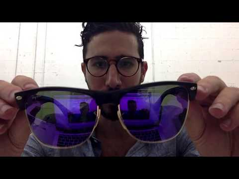 Ray-Ban RB4175 Oversized Clubmaster Matte Black with Purple Mirror Lenses Review - Super Sale