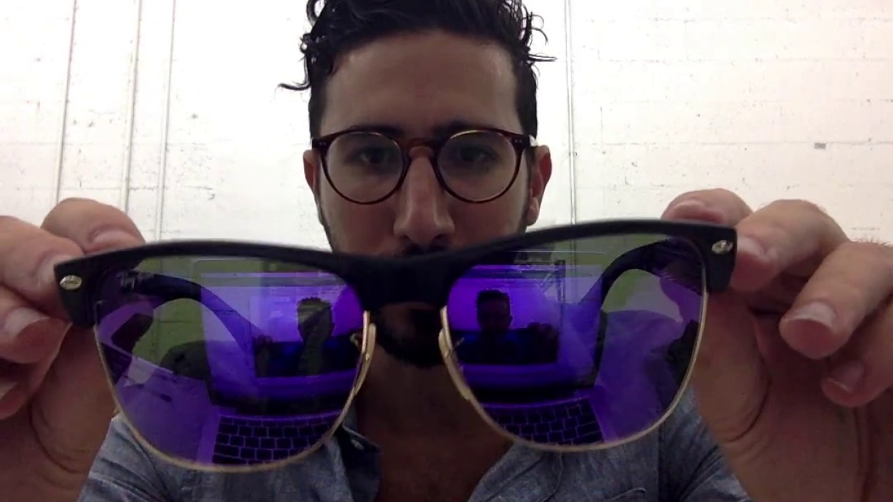 906745f3e Ray-Ban RB4175 Oversized Clubmaster Matte Black with Purple Mirror Lenses  Review - Super Sale
