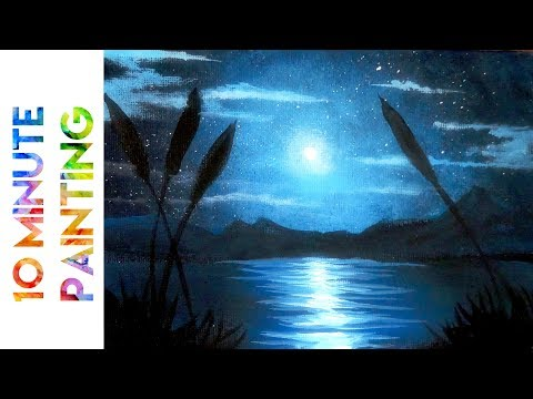 Painting a Moonlit Night Marsh with Acrylics in 10 Minutes!
