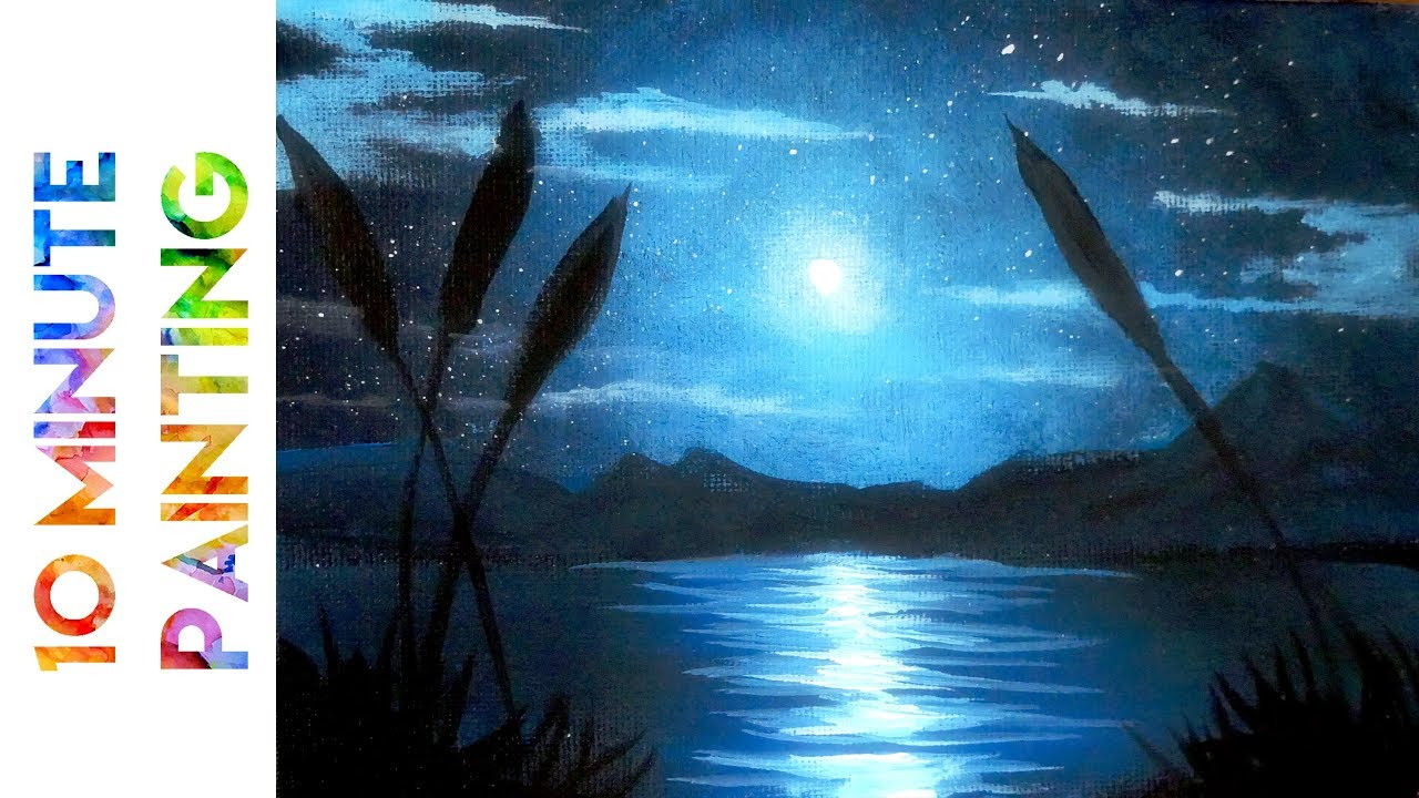 Painting A Moonlit Night Marsh With Acrylics In 10 Minutes
