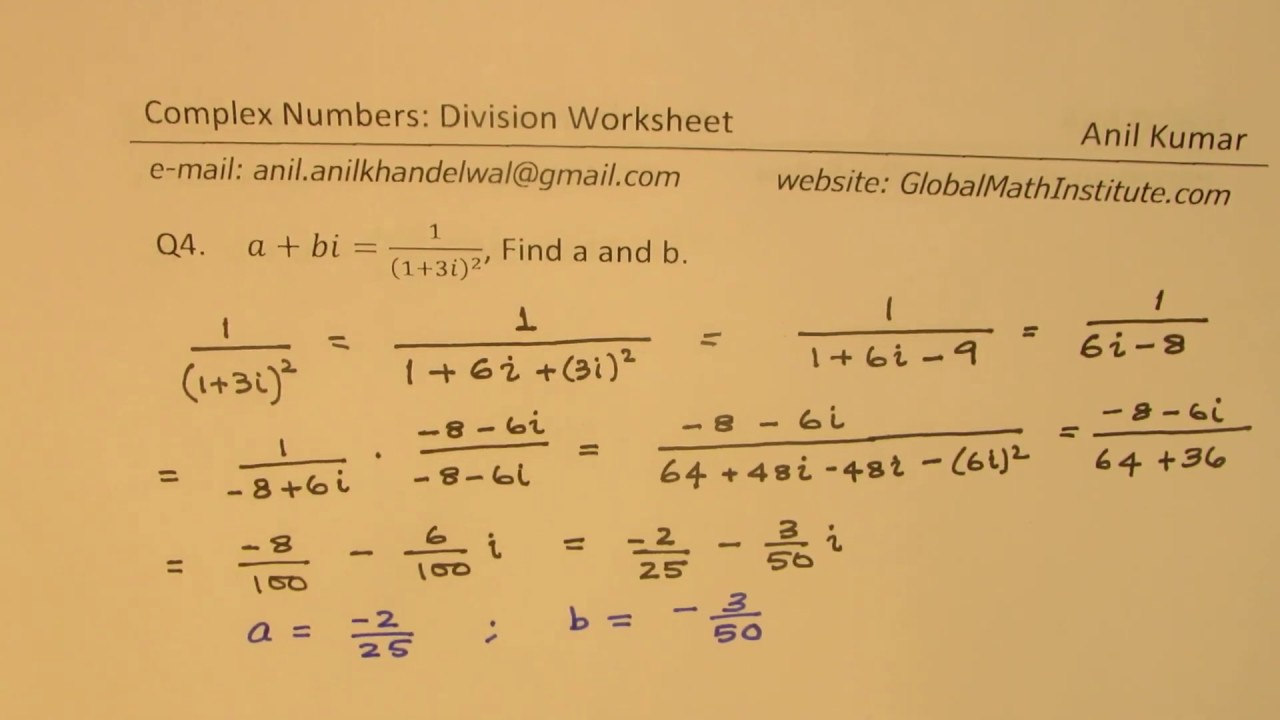 Complex Numbers Division Square Root Worksheet In Multiplying Complex Numbers Worksheet