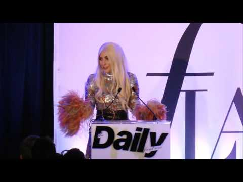 Stephen Gan presenting Editor of the Year to Lady Gaga