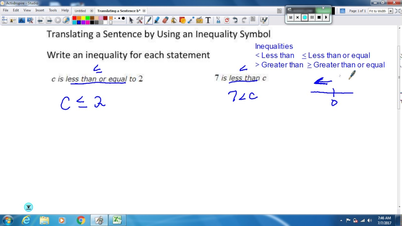 Translating A Sentence By Using An Inequality Symbol Youtube