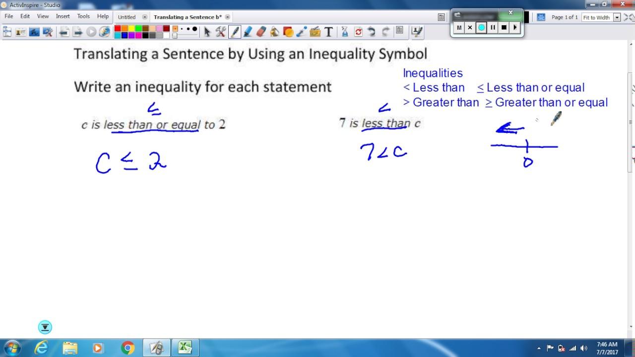 Translating a sentence by using an inequality symbol youtube translating a sentence by using an inequality symbol buycottarizona