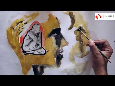Abstract art painting for beginners