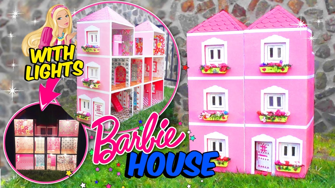 Shoe Box Dollhouse Craft For Kids: BARBIE DOLLHOUSE MADE WITH CARDBOARD BOX WITH LIGHTS
