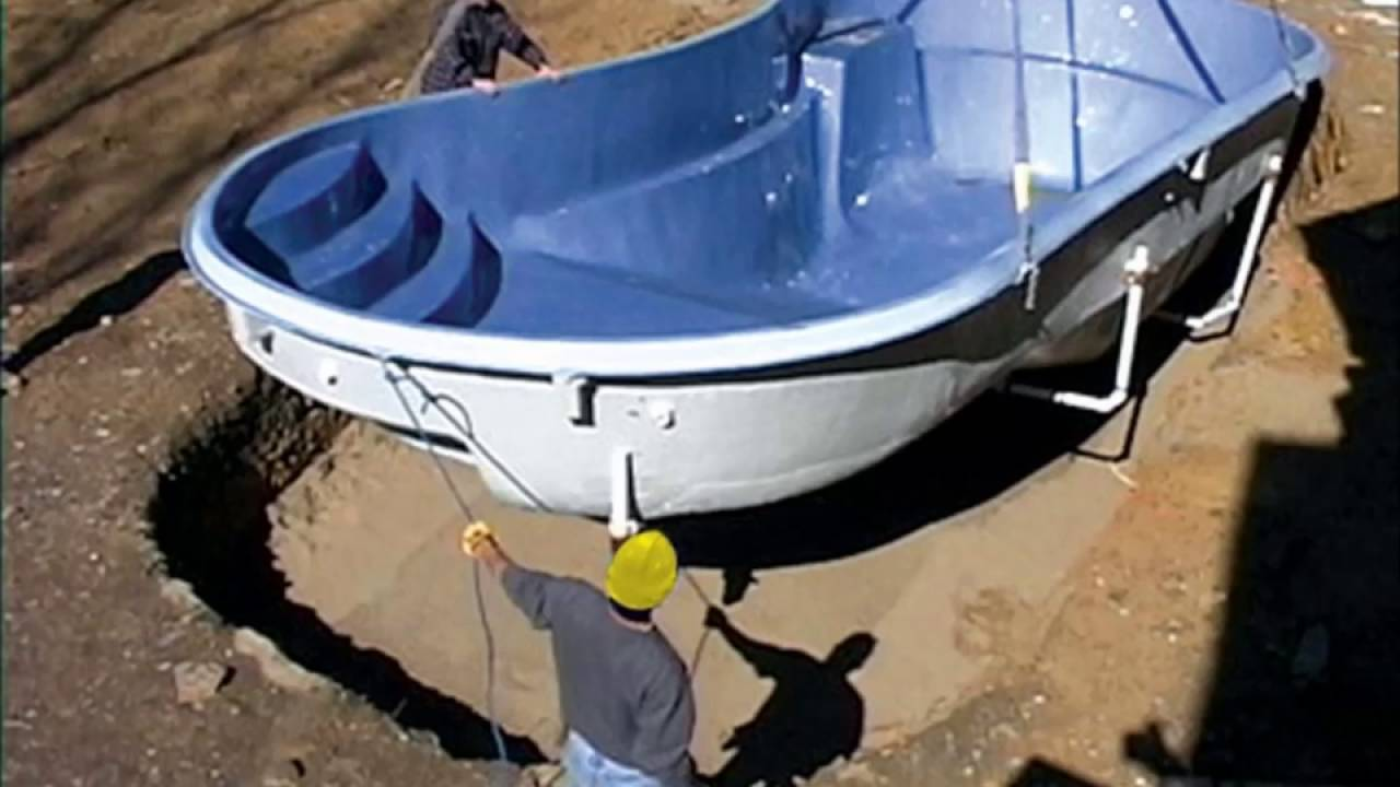 Fiberglass Swimming Pool Installation - YouTube