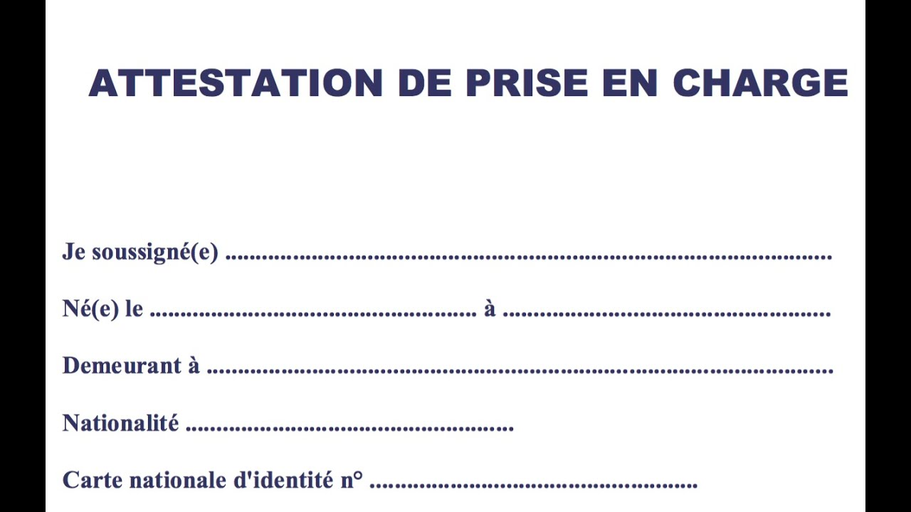 exemple attestation de prise en charge visa touriste