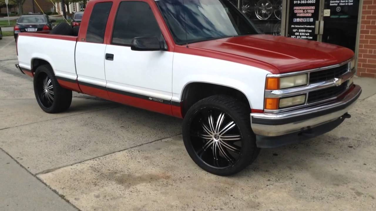 medium resolution of 1996 chevy silverado on 24 2 crave no 7 with 295 35 24 lexani tires at rimtyme durham youtube