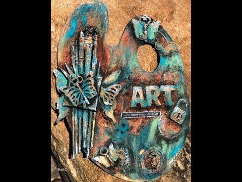 Steampunk Style Paint Pallet Assemblage Art Using Patina Paste - Speed Version of Livestream