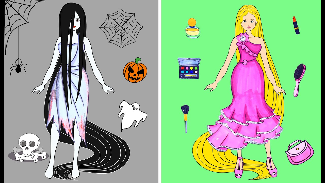 [DIY] Paper Dolls Witch and Zombie! Beautiful Dresses Handmade Papercrafts